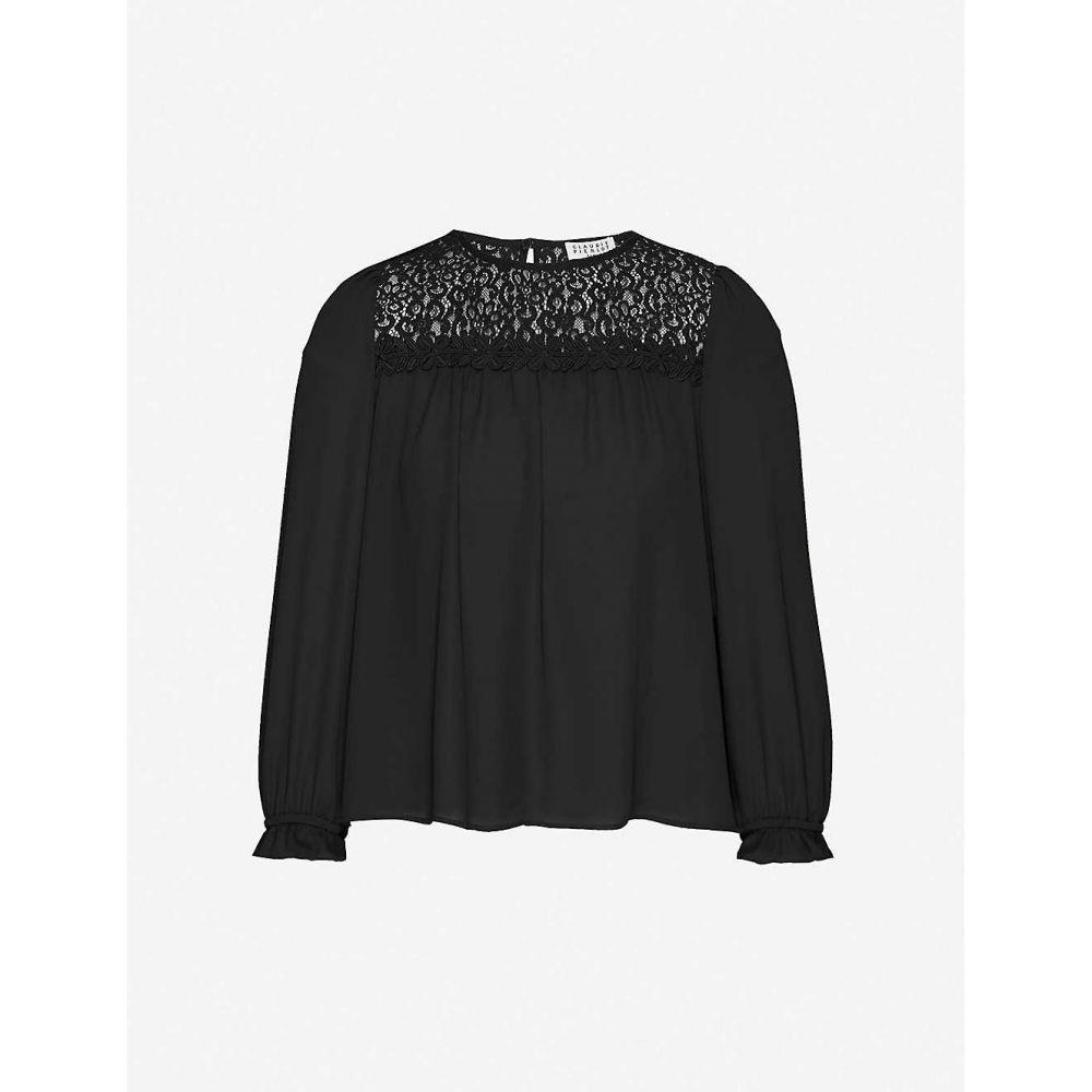 クローディ ピエルロ CLAUDIE PIERLOT レディース ブラウス・シャツ トップス【Lace-panel crepe top】BLACK
