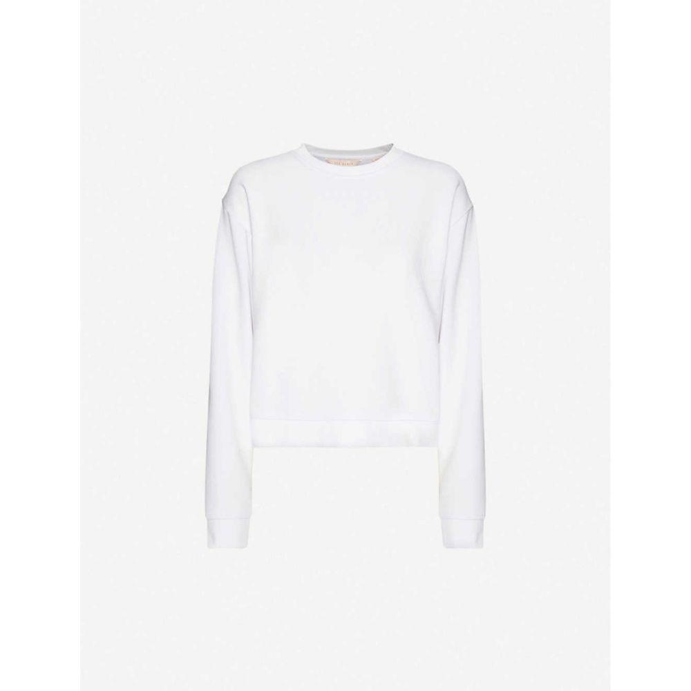 テッドベーカー TED BAKER レディース スウェット・トレーナー トップス【Logo-print stretch-jersey sweatshirt】WHITE