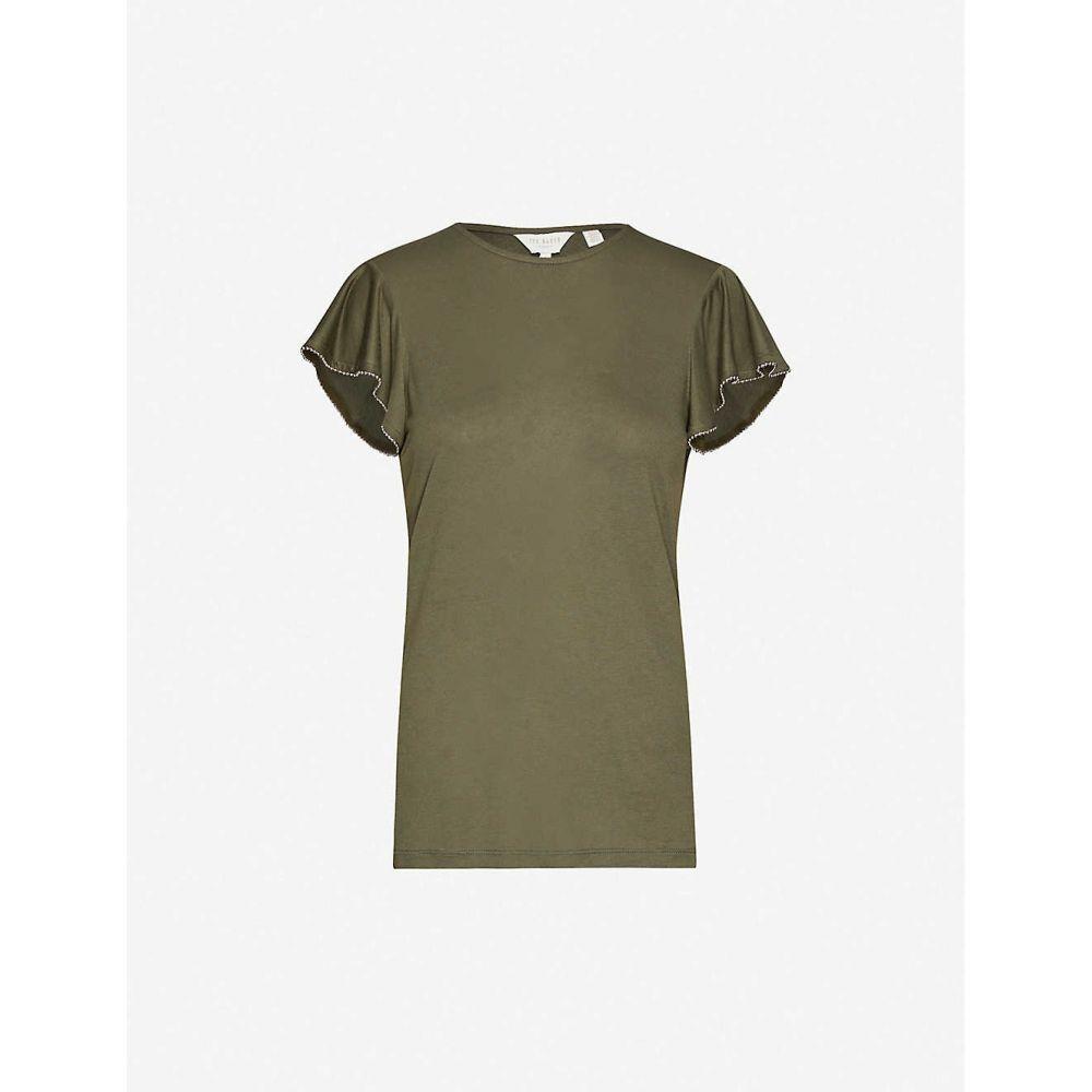 テッドベーカー TED BAKER レディース Tシャツ トップス【Frill-detail stretch-jersey T-shirt】KHAKI