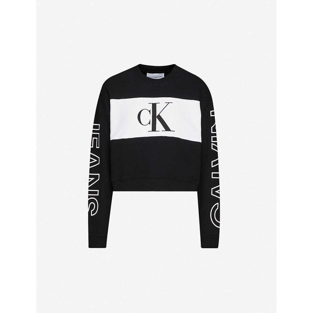 カルバンクライン CALVIN KLEIN レディース スウェット・トレーナー トップス【Logo-print cotton-jersey sweatshirt】CK BLACK