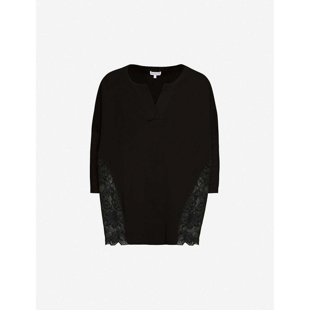 クローディ ピエルロ CLAUDIE PIERLOT レディース スウェット・トレーナー トップス【My Lace mesh-panelled cotton-knit jumper】BLACK