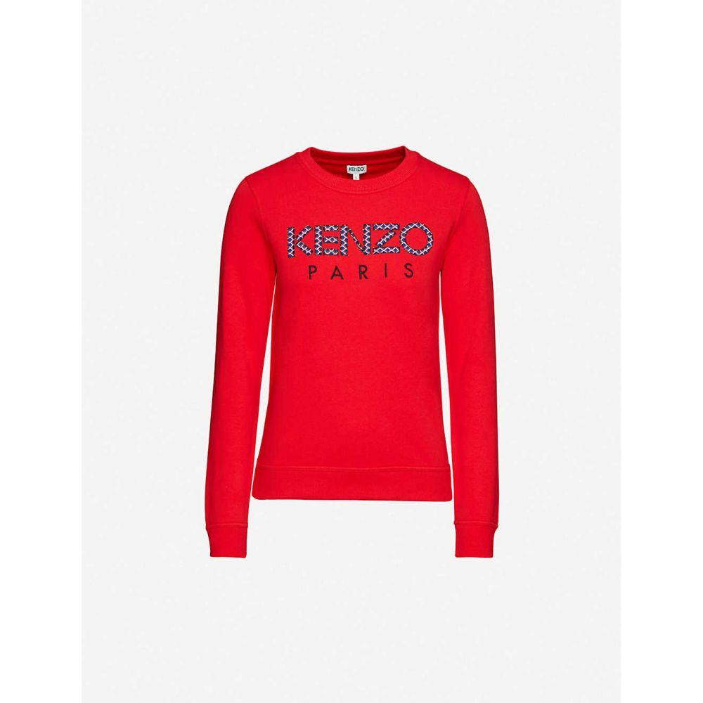 ケンゾー KENZO レディース スウェット・トレーナー トップス【Logo-embroidered cotton-jersey sweatshirt】Medium Red