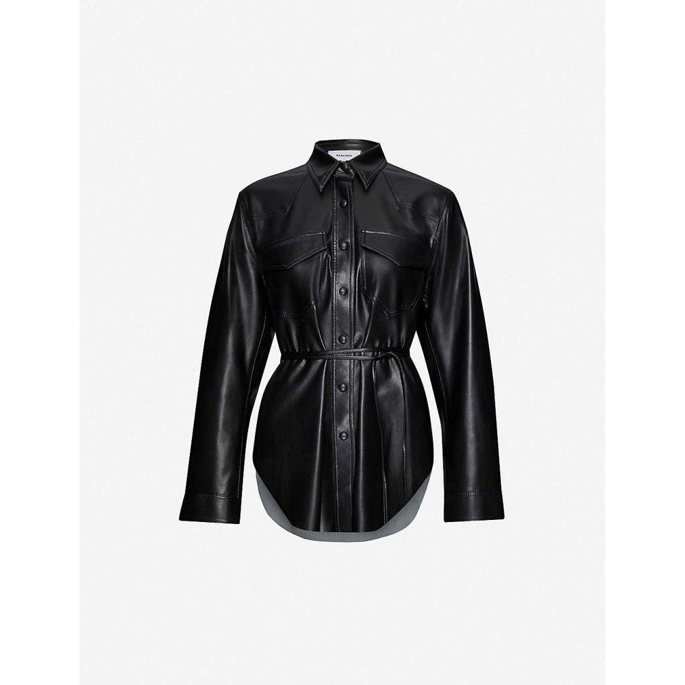 ナヌシュカ NANUSHKA レディース ブラウス・シャツ トップス【Eddy belted vegan leather shirt】BLACK
