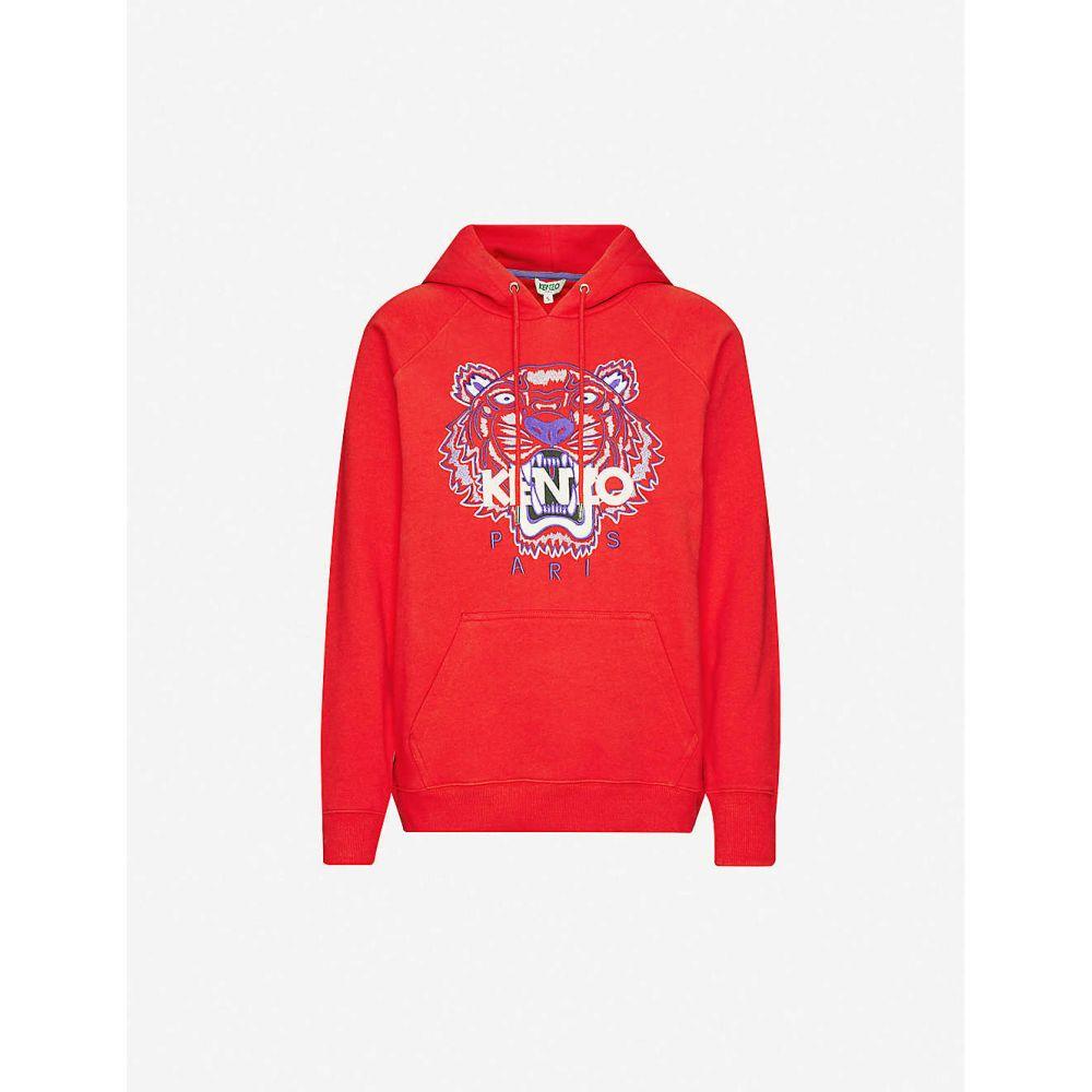 ケンゾー KENZO レディース パーカー トップス【Logo-print cotton-jersey hoody】Medium Red