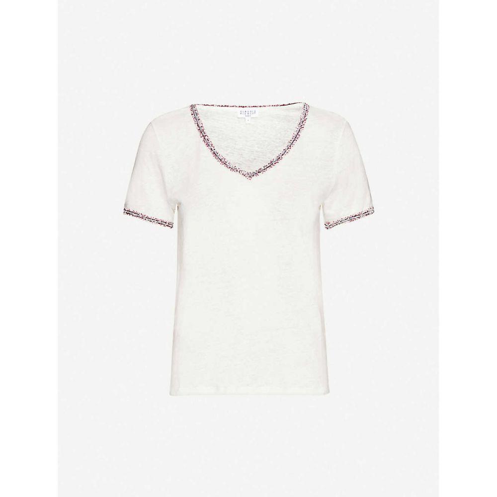 クローディ ピエルロ CLAUDIE PIERLOT レディース Tシャツ トップス【Tango twill-trimmed linen T-shirt】ECRU
