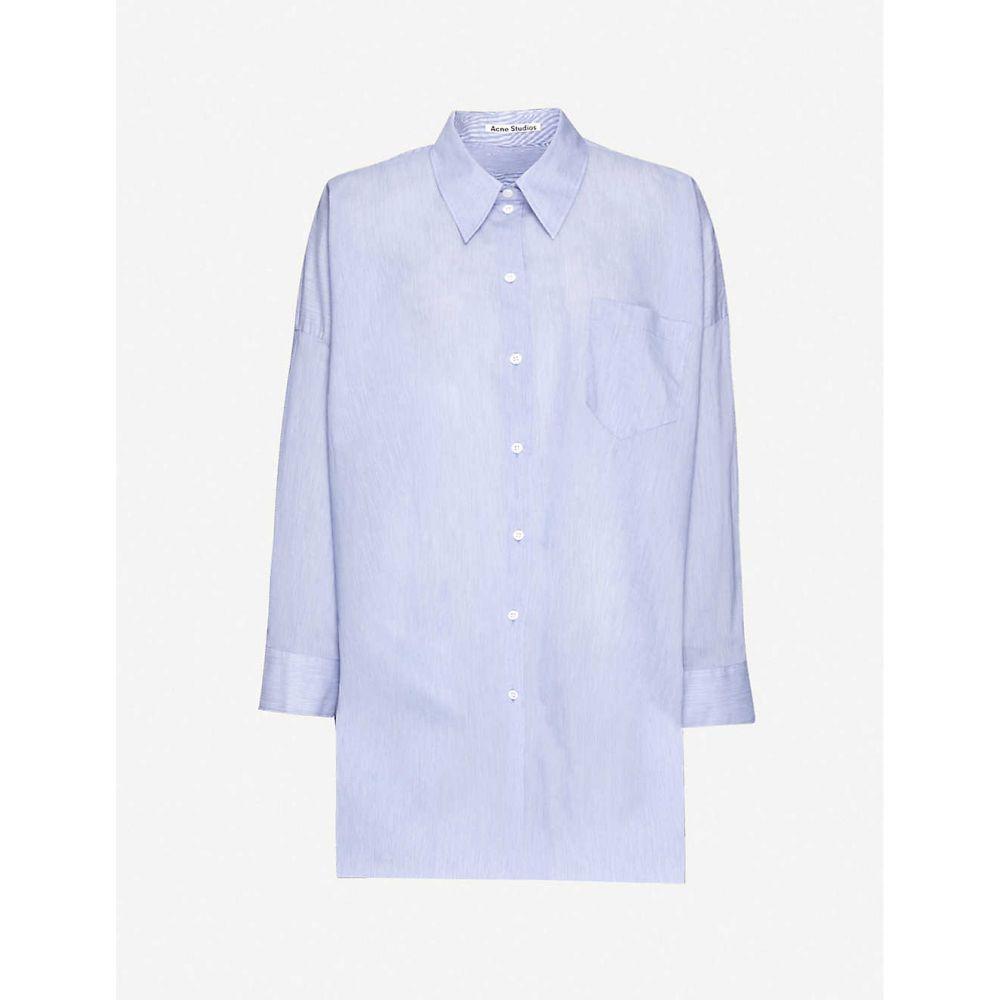 アクネ ストゥディオズ ACNE STUDIOS レディース ブラウス・シャツ トップス【Oversized cotton-blend poplin shirt】Powder Blue