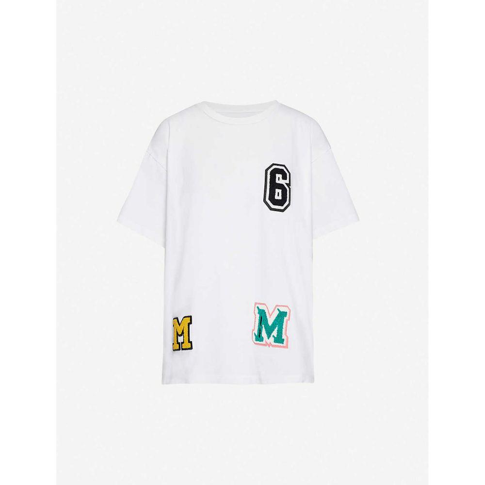 メゾン マルジェラ MM6 MAISON MARGIELA レディース Tシャツ トップス【Logo-embroidered cotton-jersey T-shirt】White