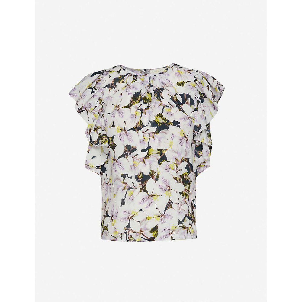 ハッピー バイ ネイチャー HAPPY X NATURE レディース トップス 【Floral-print ruffle-trimmed crepe top】Azaela Floral Print