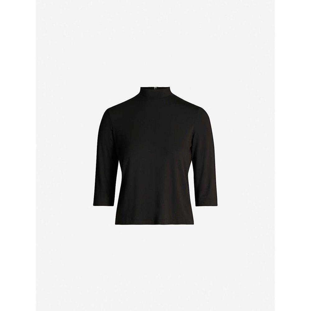 ヴィンス VINCE レディース トップス 【High-neck stretch-jersey top】BLACK