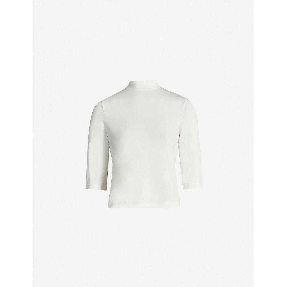 ヴィンス VINCE レディース トップス 【High-neck stretch-jersey top】Off White