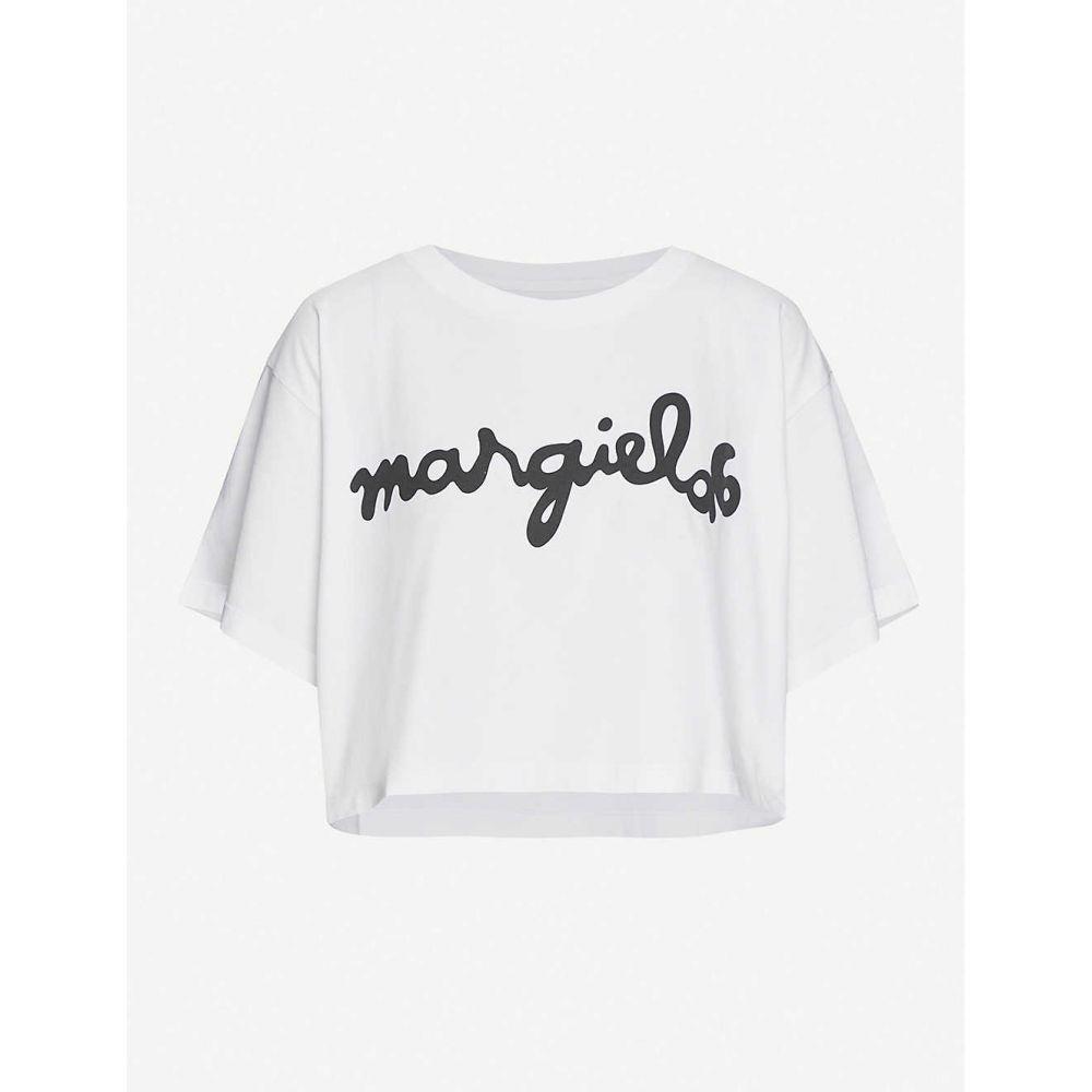 メゾン マルジェラ MM6 MAISON MARGIELA レディース Tシャツ トップス【Logo-print cotton-jersey T-shirt】White