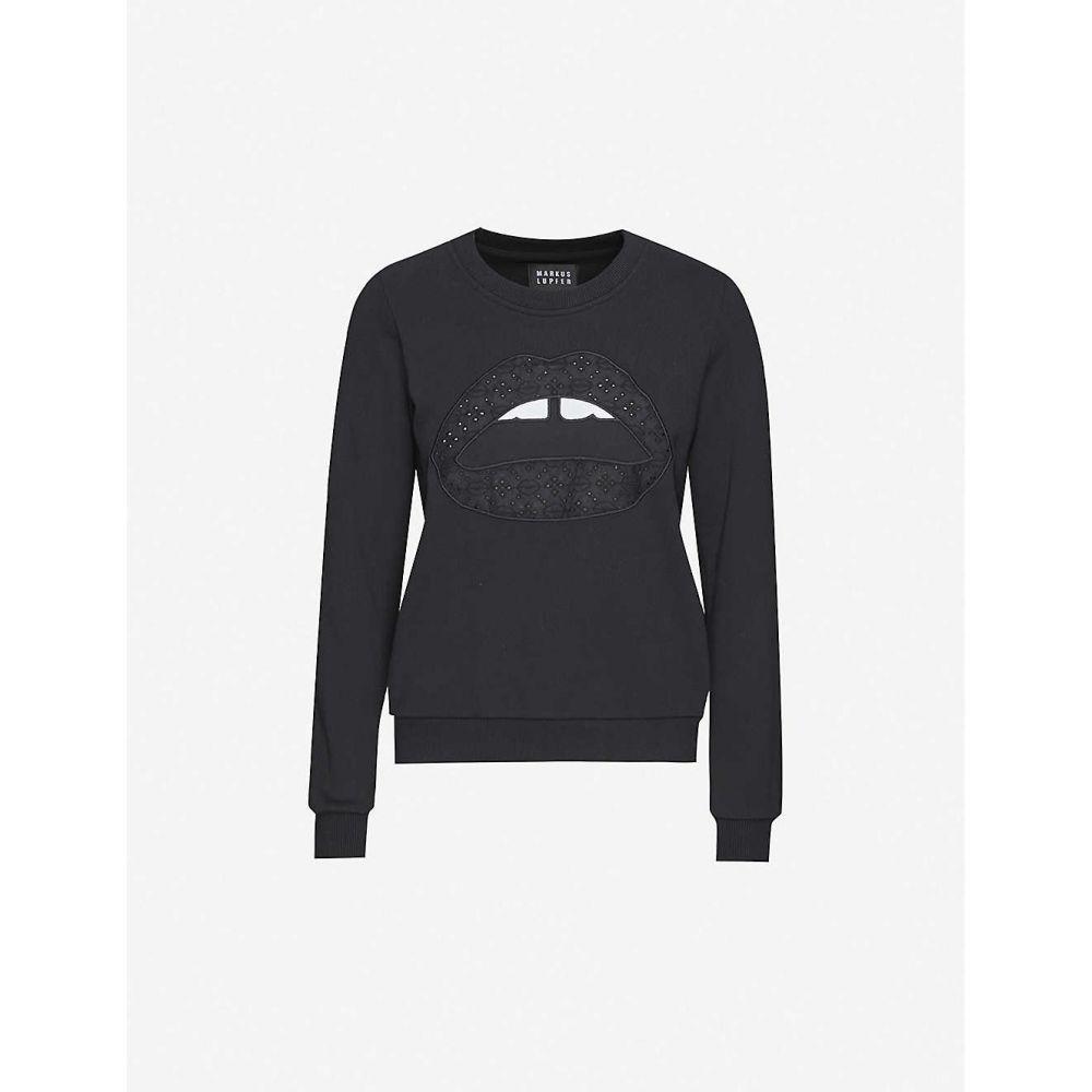 マーカス ルーファー MARKUS LUPFER レディース スウェット・トレーナー トップス【Leonie embroidered cotton-jersey sweatshirt】BLACK