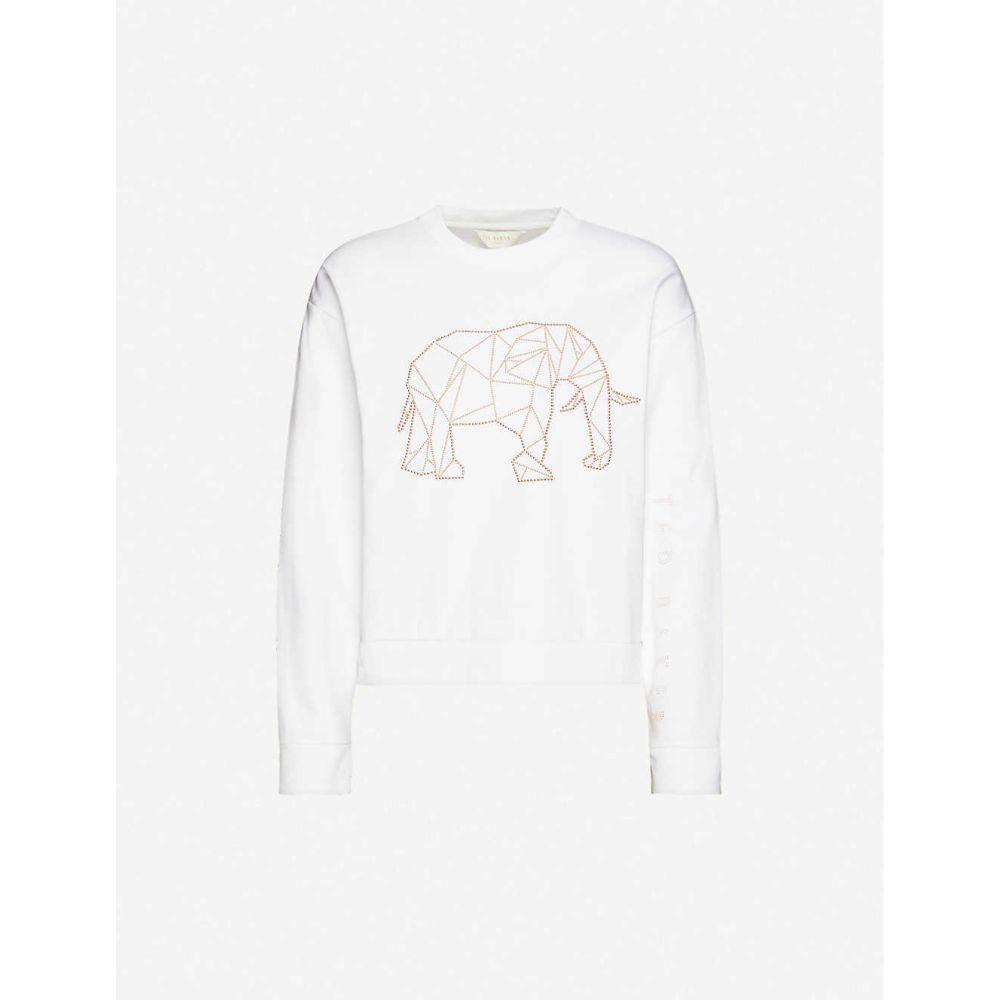 テッドベーカー TED BAKER レディース スウェット・トレーナー トップス【Endangered Animals cotton-blend jersey sweatshirt】WHITE