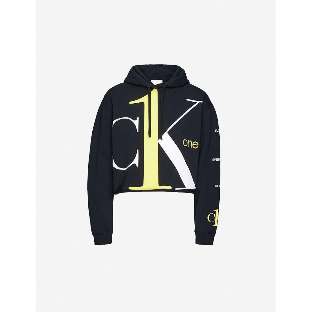 カルバンクライン CALVIN KLEIN レディース パーカー トップス【CK One logo cropped cotton-jersey hoody】BLACK BEAUTY