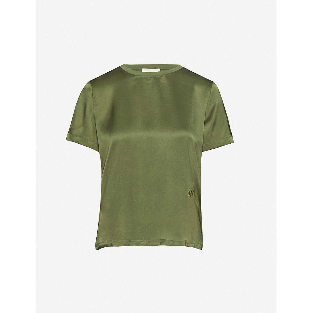 マージュ MAJE レディース Tシャツ トップス【Round-neck silk-satin T-shirt】KHAKI