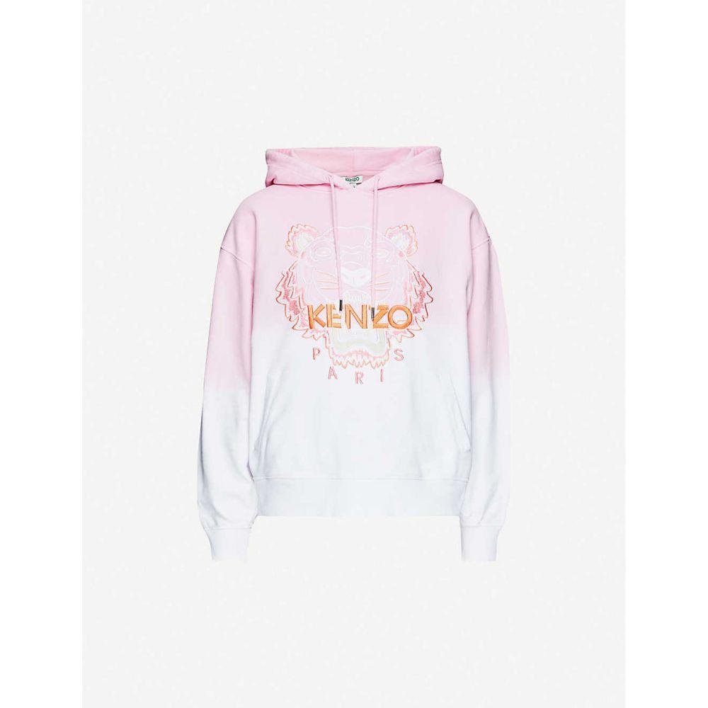 ケンゾー KENZO レディース パーカー トップス【Dip-dye logo-embroidered cotton-jersey hoody】FLAMINGO PINK