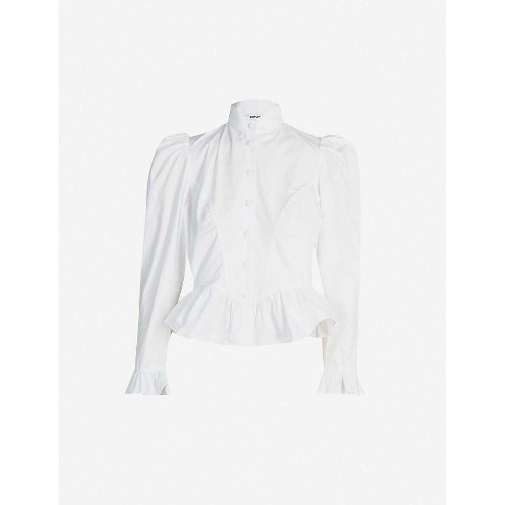 バットシェヴァ BATSHEVA レディース ブラウス・シャツ トップス【Grace high-neck puff-sleeve cotton-poplin blouse】White