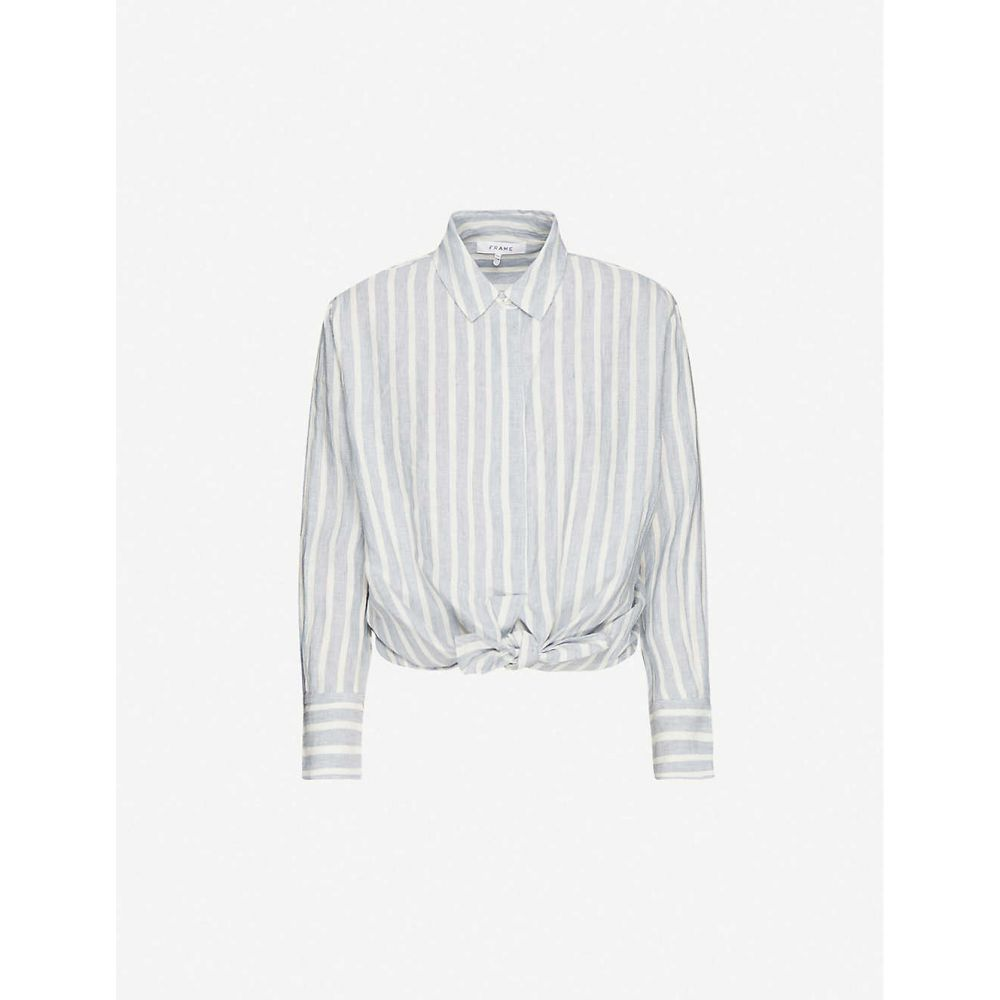 フレーム FRAME レディース ブラウス・シャツ トップス【Striped knotted linen shirt】Chambray Multi