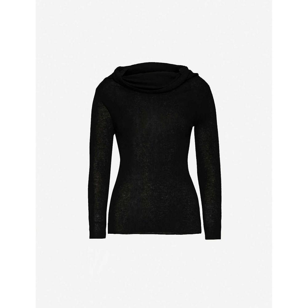 リース REISS レディース オフショルダー トップス【Tima off-the-shoulder wool-blend jumper】BLACK