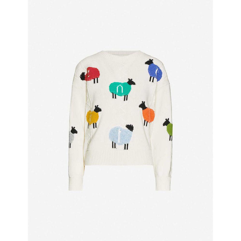 ベネトン BENETTON レディース ニット・セーター トップス【Sheep-print wool-blend jumper】cream
