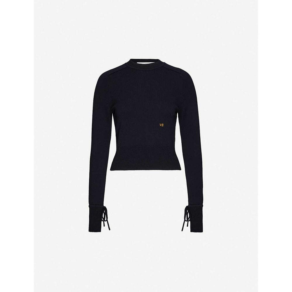 ヴィクトリア ベッカム VICTORIA BECKHAM レディース ニット・セーター トップス【Logo-embroidered stretch-cashmere jumper】Navy