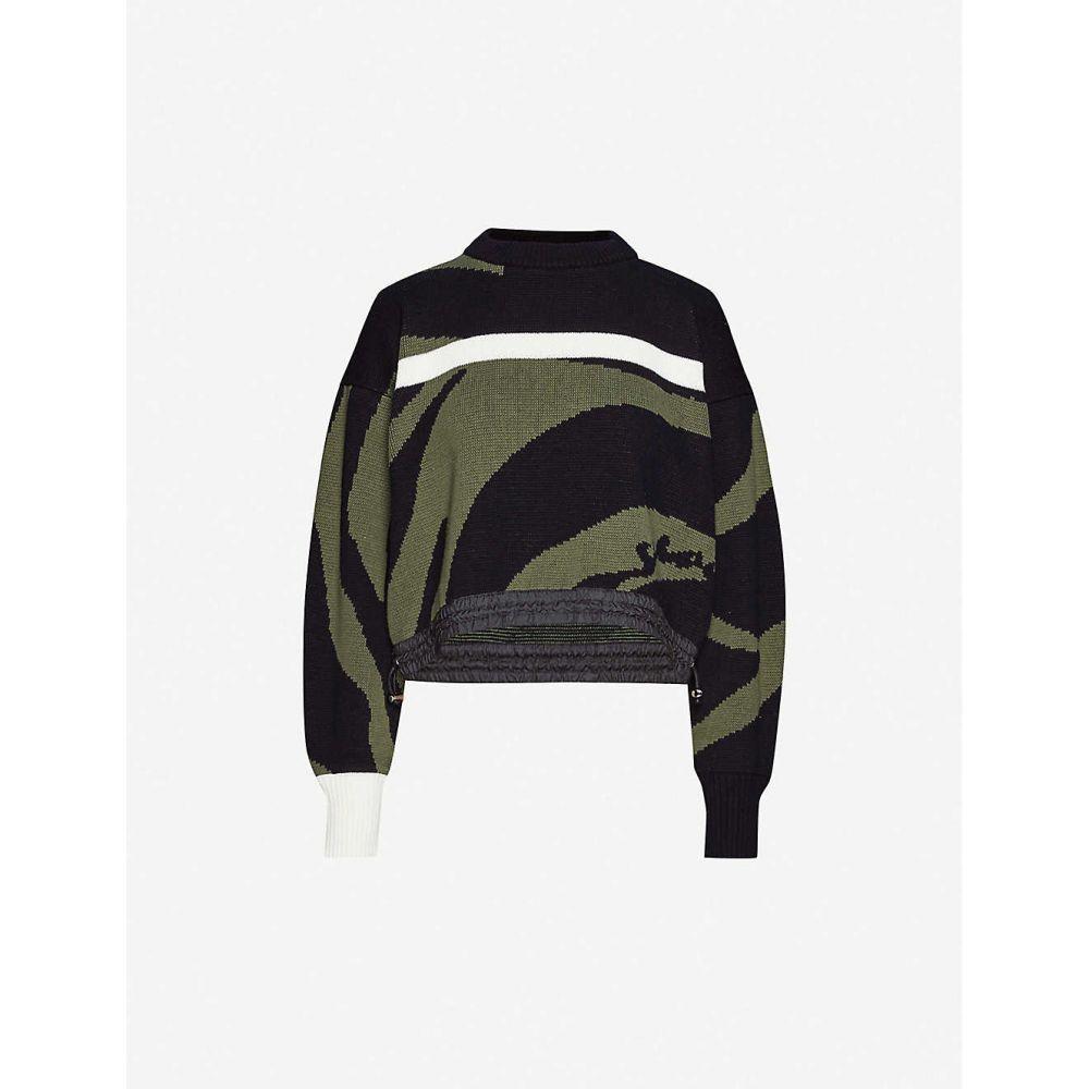 サカイ SACAI レディース ニット・セーター トップス【Zebra-pattern cotton-knit jumper】Khaki Black