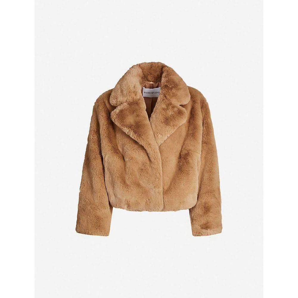 スタンド STAND レディース コート アウター【Janet cropped faux-fur coat】CAMEL