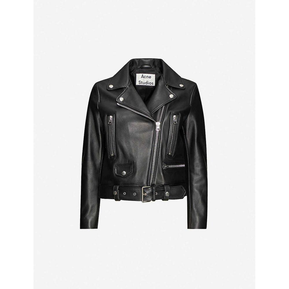 アクネ ストゥディオズ ACNE STUDIOS レディース レザージャケット ライダース アウター【Mock leather biker jacket】BLACK