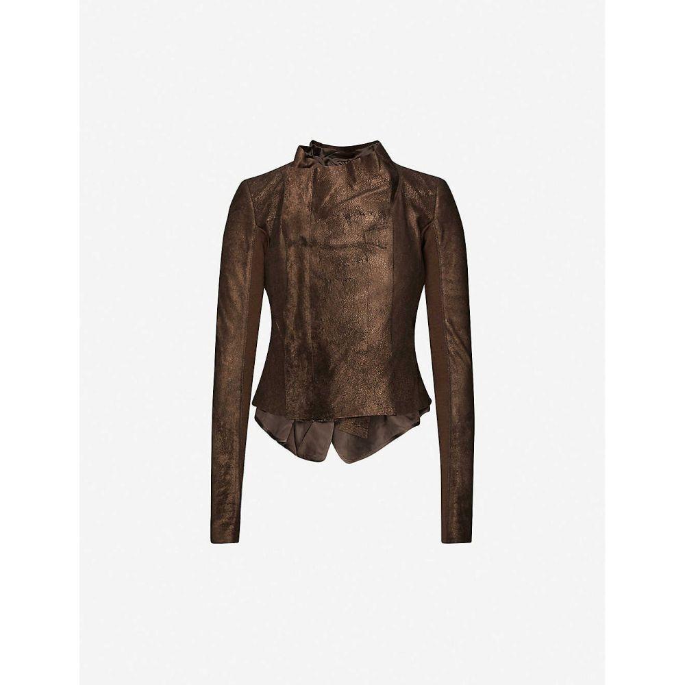 リック オウエンス RICK OWENS レディース レザージャケット アウター【Draped leather jacket】BRONZE