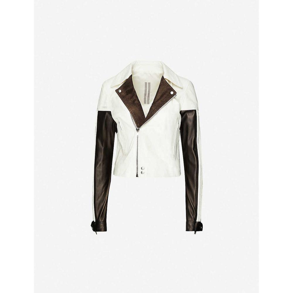 リック オウエンス RICK OWENS レディース レザージャケット アウター【Colour-blocked leather jacket】COMBO