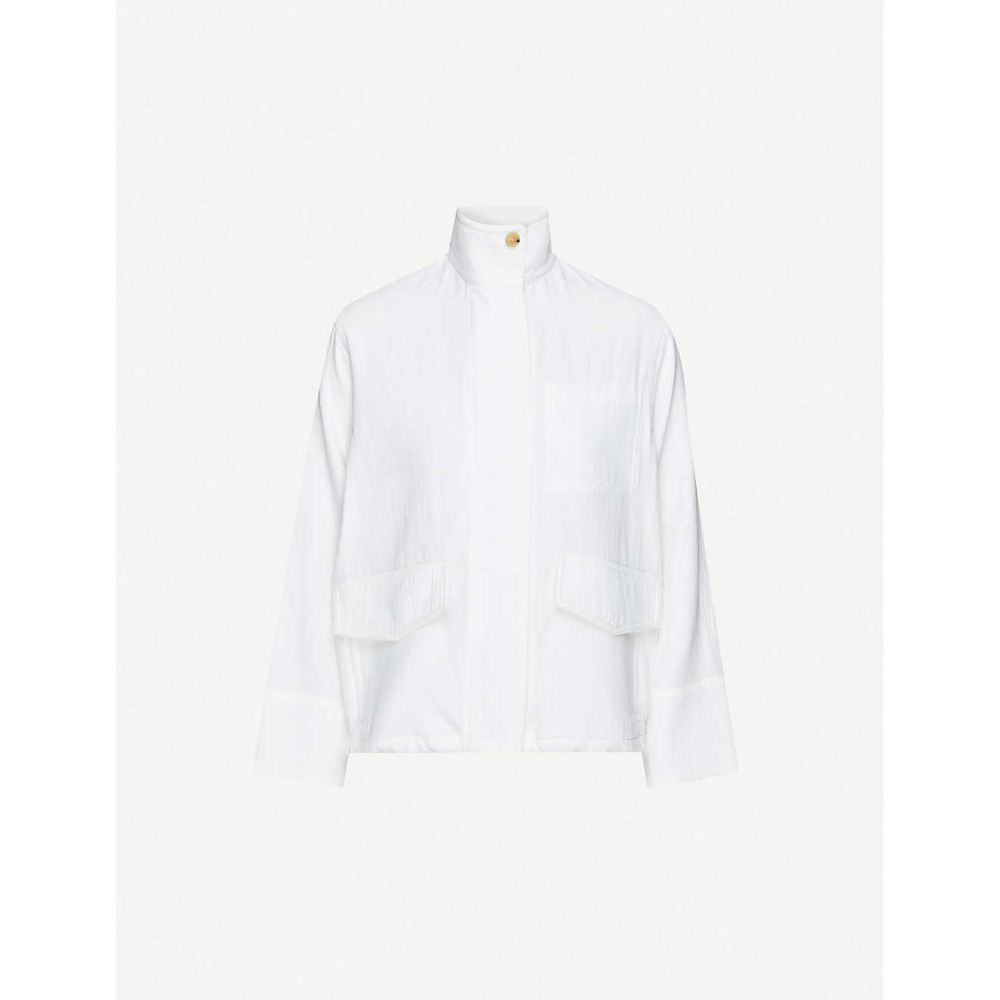 ヴィンス VINCE レディース ジャケット アウター【Funnel-neck cotton-twill jacket】Optic White/owt