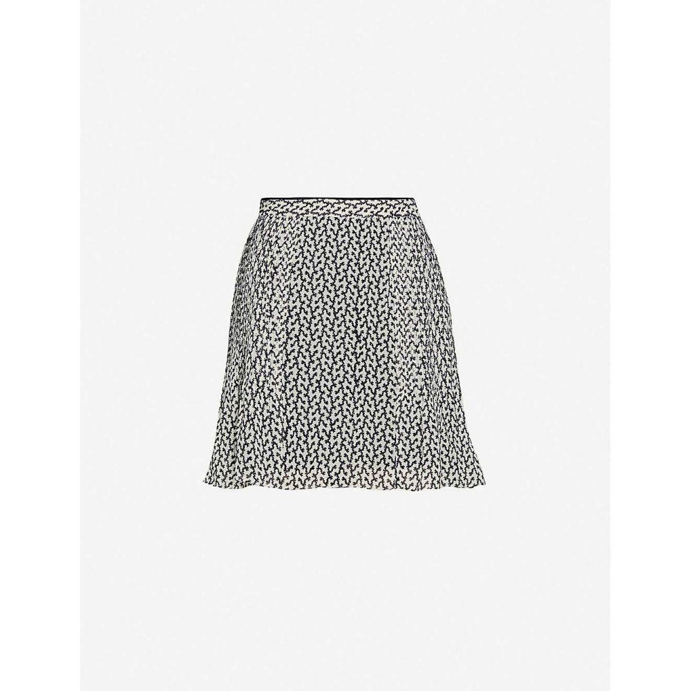 リース REISS レディース ミニスカート スカート【Ellie pleated crepe mini skirt】BLACK/WHITE