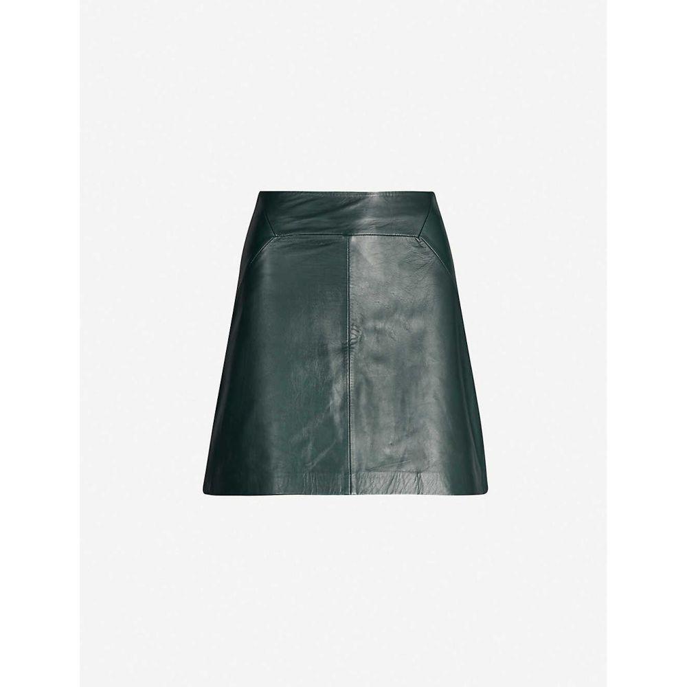 ホイッスルズ WHISTLES レディース ミニスカート スカート【A-line leather mini skirt】DARK GREEN