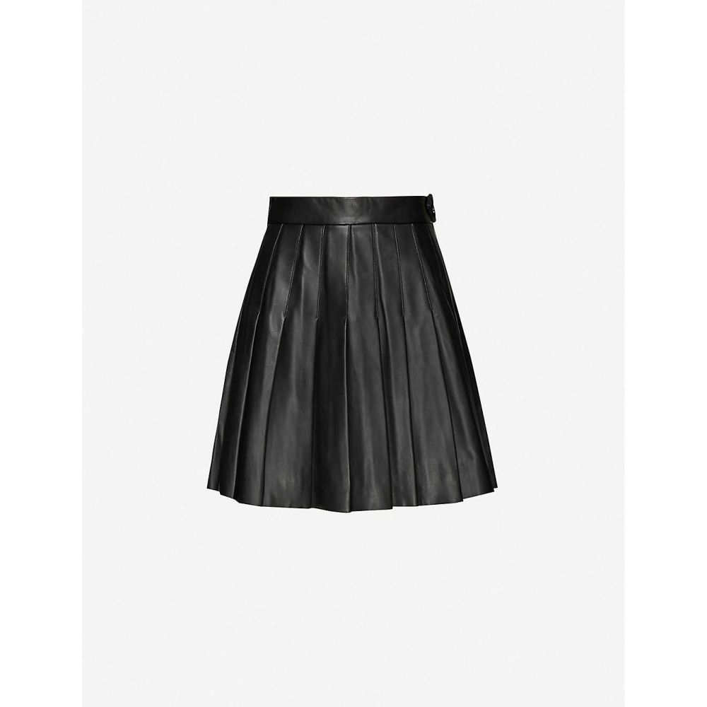 マージュ MAJE レディース ミニスカート スカート【Jabaki pleated leather mini skirt】BLACK