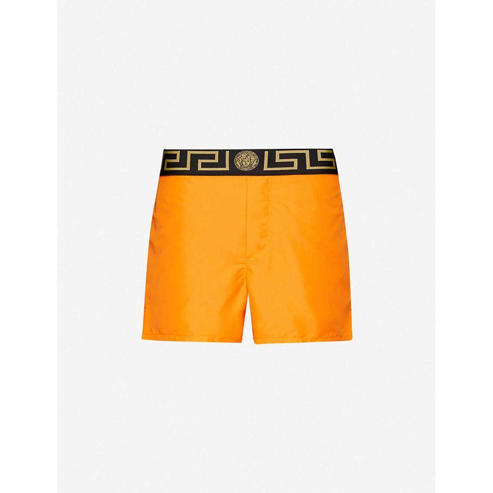 ヴェルサーチ VERSACE メンズ 海パン ショートパンツ 水着・ビーチウェア【Solid logo-trim swim shorts】Orange