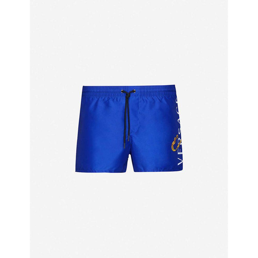 ヴェルサーチ VERSACE メンズ 海パン ショートパンツ 水着・ビーチウェア【Brand-print wide shell swim shorts】BLUE