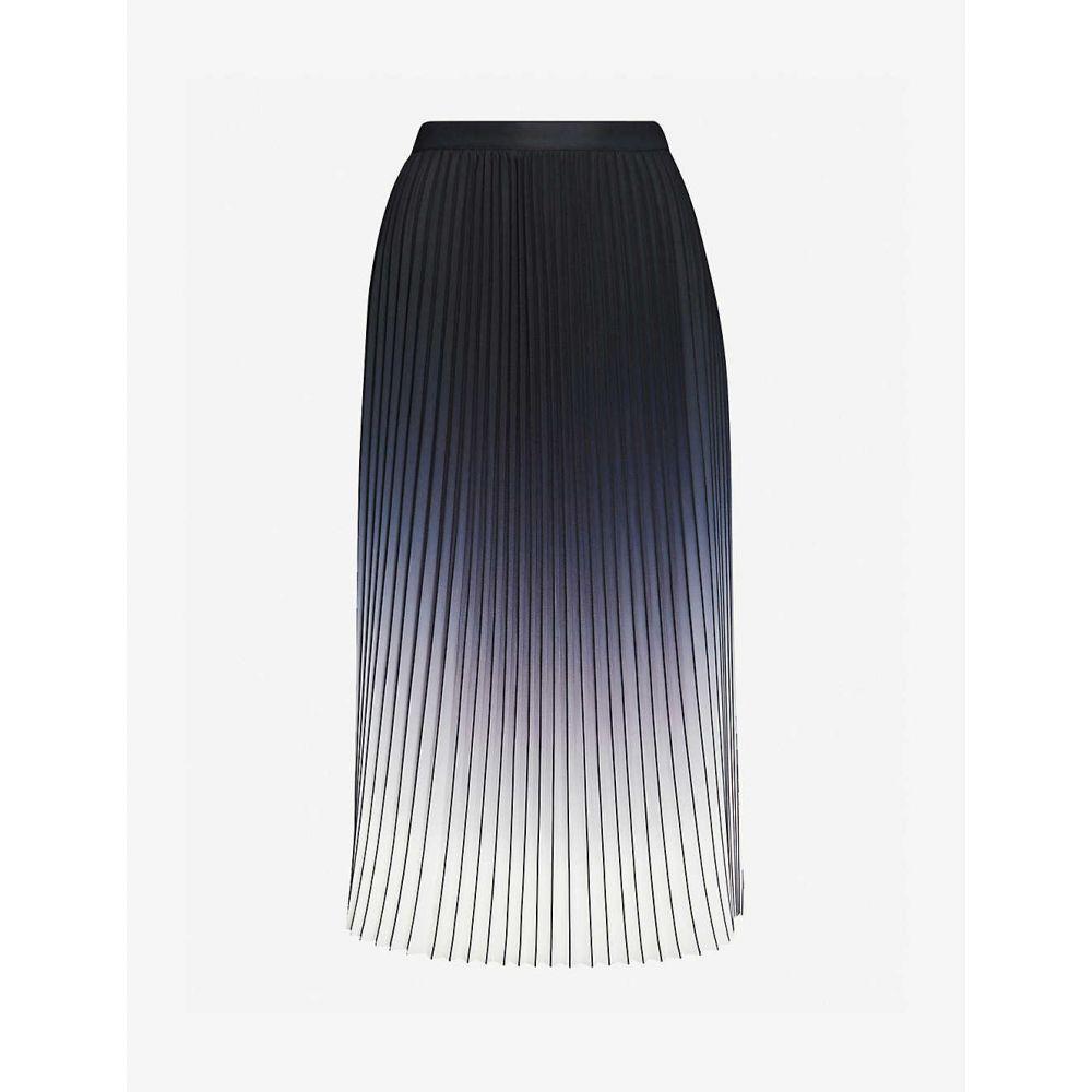 リース REISS レディース ひざ丈スカート スカート【Mila ombre pleated midi skirt】BLACK/ECRU
