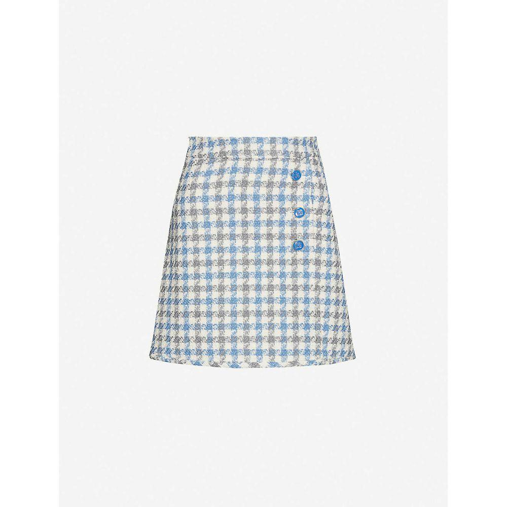 サンドロ SANDRO レディース ミニスカート スカート【Calia check-print high-waist tweed skirt】BLUE SKY