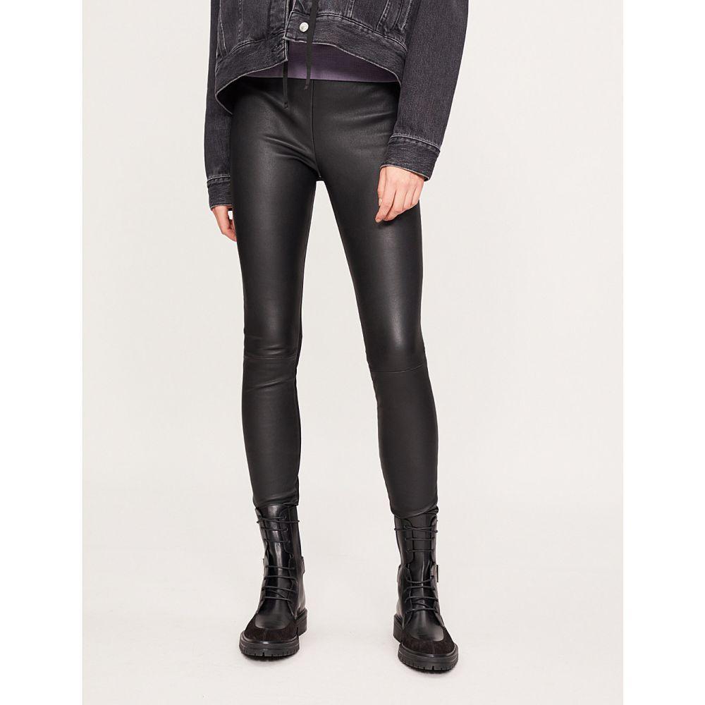 リース REISS レディース ボトムス・パンツ レザーレギンス【Valerie leather leggings】BLACK