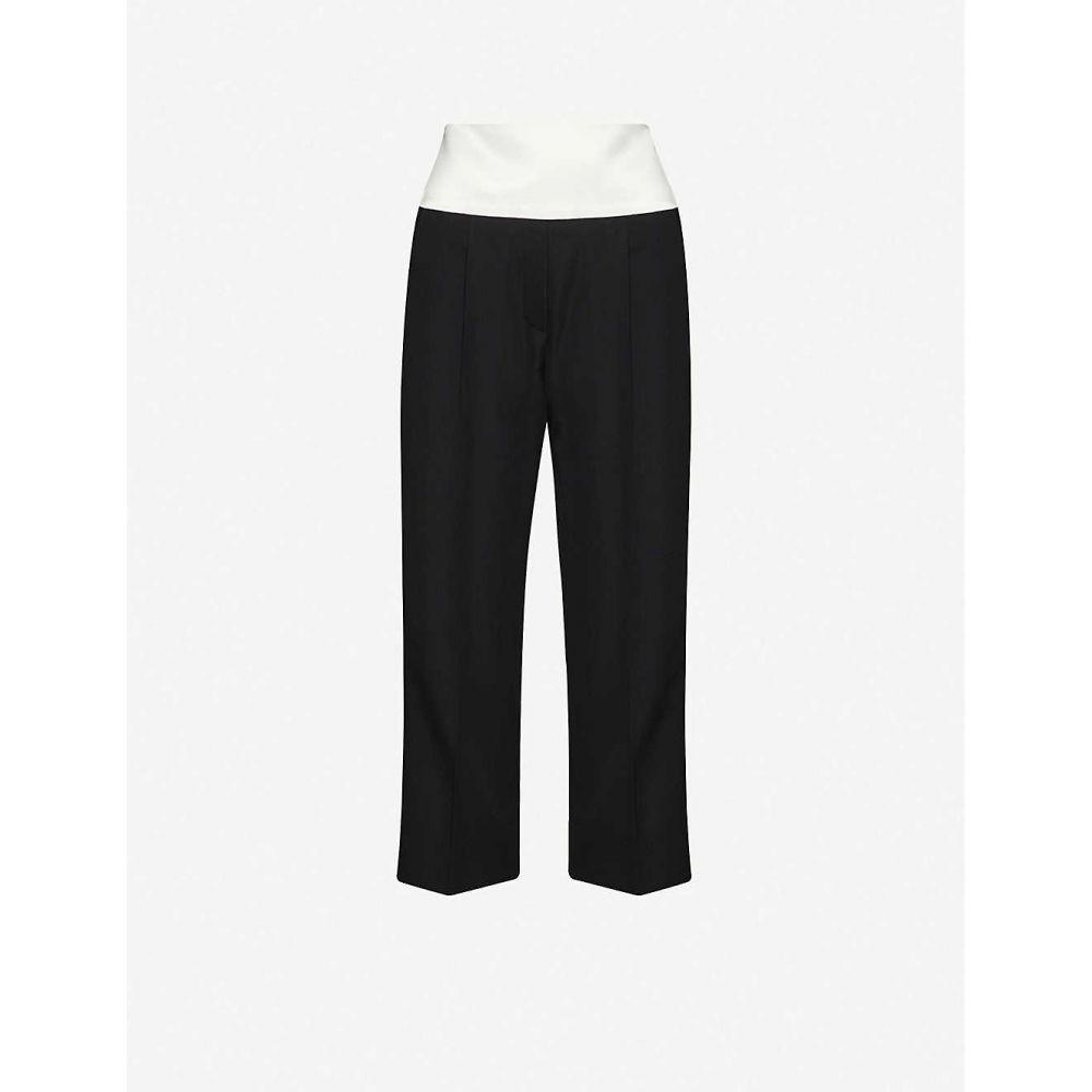 ジバンシー GIVENCHY レディース クロップド ボトムス・パンツ【Cropped straight high-rise wool trousers】BLACK WHITE