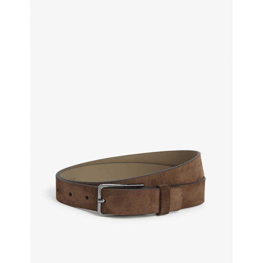 ヒューゴ ボス HUGO レディース ベルト 【Suede leather belt】Dark Brown