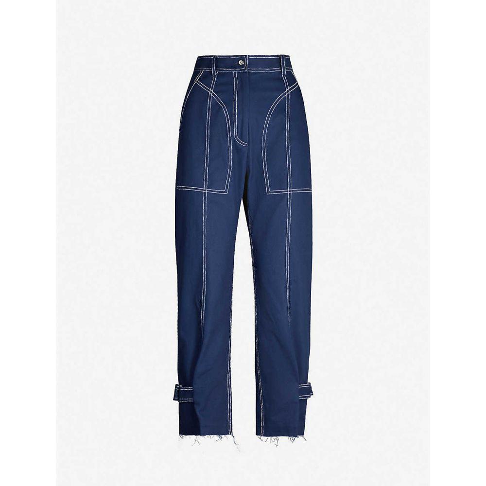 ウェン パン WEN PAN レディース ボトムス・パンツ 【Raw-hem high-rise tapered cotton-twill trousers】Navy