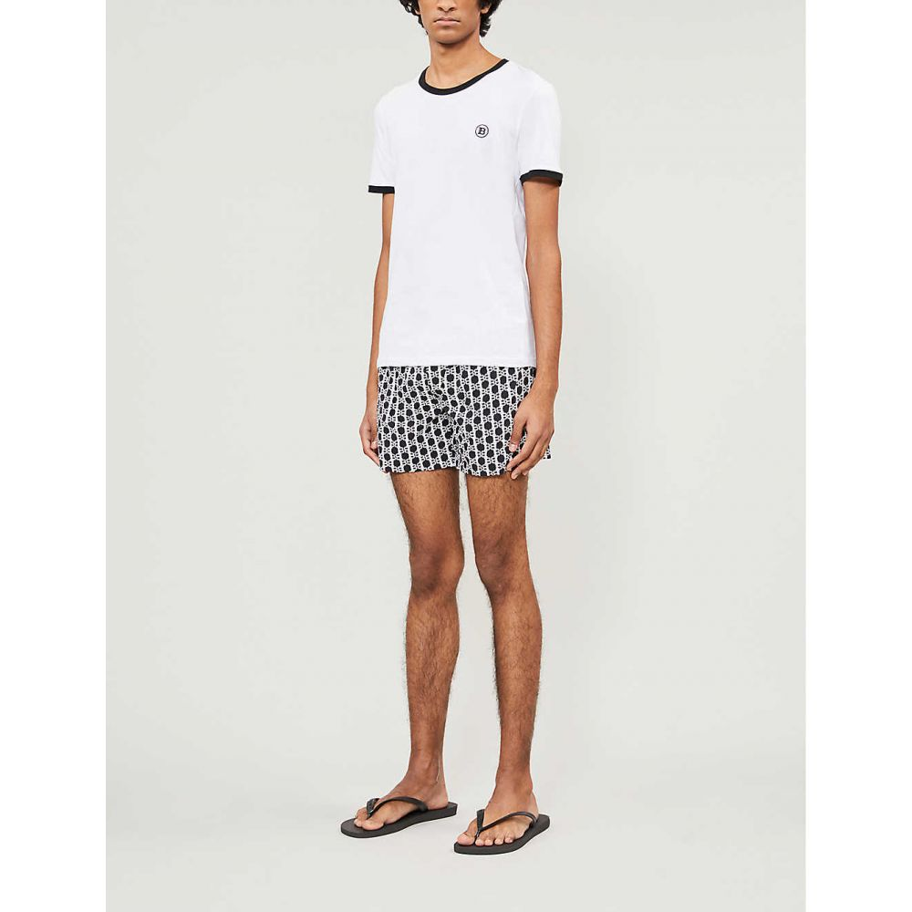 バルマン BALMAIN メンズ 海パン ショートパンツ 水着・ビーチウェア Logo print swim shorts BLACK WHITETFKuJc35l1