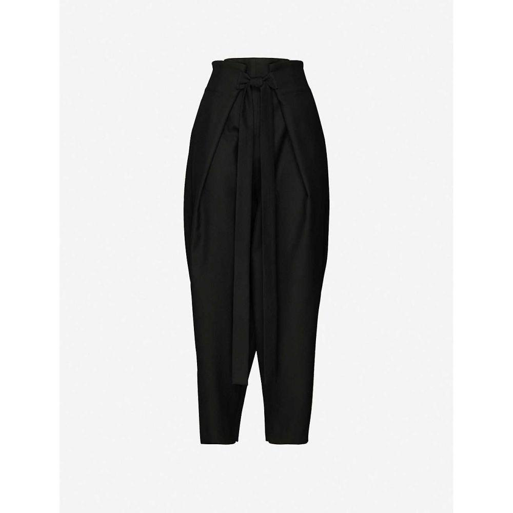 ダニエル ポリット DANIEL POLLITT レディース ボトムス・パンツ 【Tie-belt tapered high-rise wool trousers】BLACK