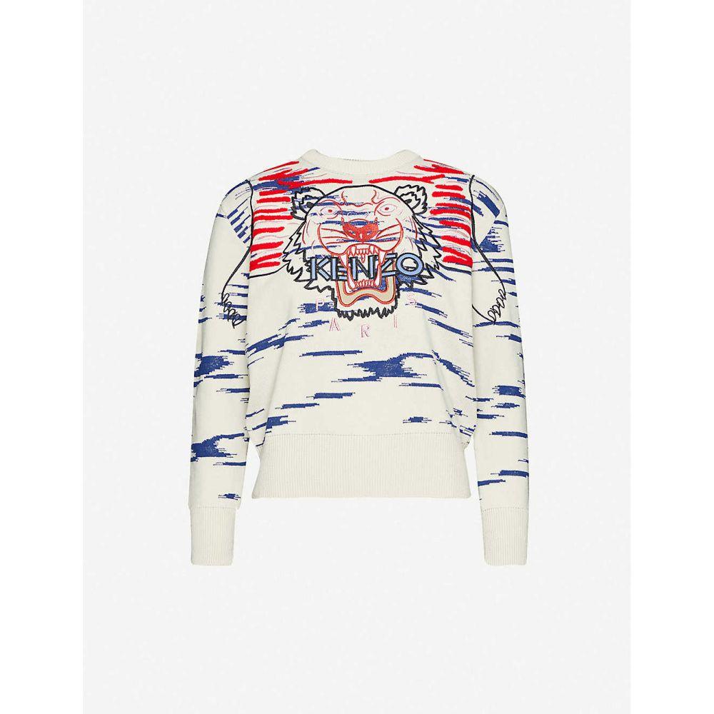 ケンゾー KENZO レディース ニット・セーター トップス【Tiger-embroidered cotton-blend jumper】Off White
