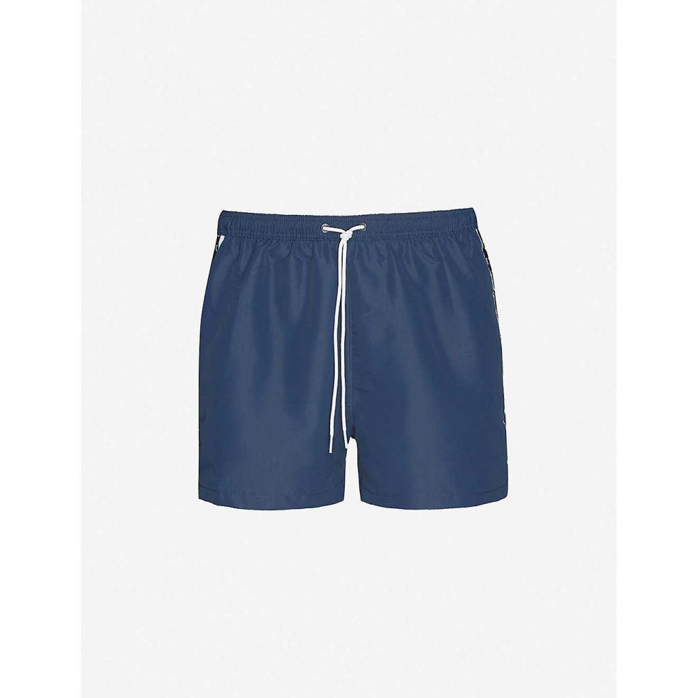 カルバンクライン CALVIN KLEIN メンズ 海パン ショートパンツ 水着・ビーチウェア【Branded-tape relaxed-fit shell shorts】BLACK IRIS