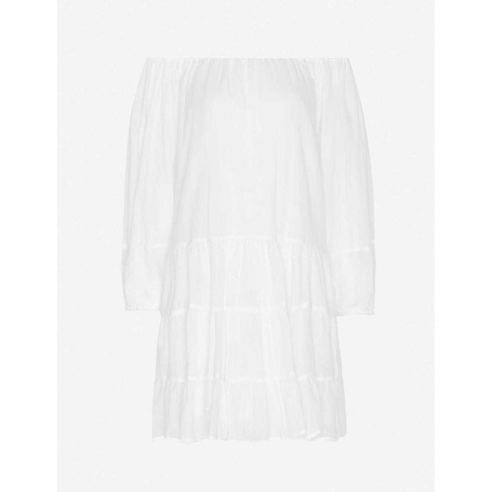 エリカペナ ERIKA PENA レディース ビーチウェア ワンピース・ドレス 水着・ビーチウェア【Brielle puffed-sleeve cotton-voile mini dress】White