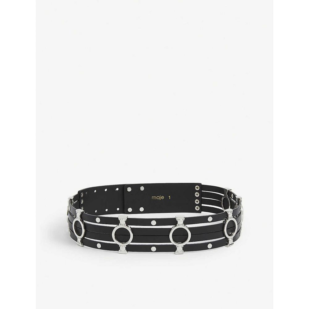 マージュ MAJE レディース ベルト 【Azur silver-tone stud embellished leather belt】BLACK