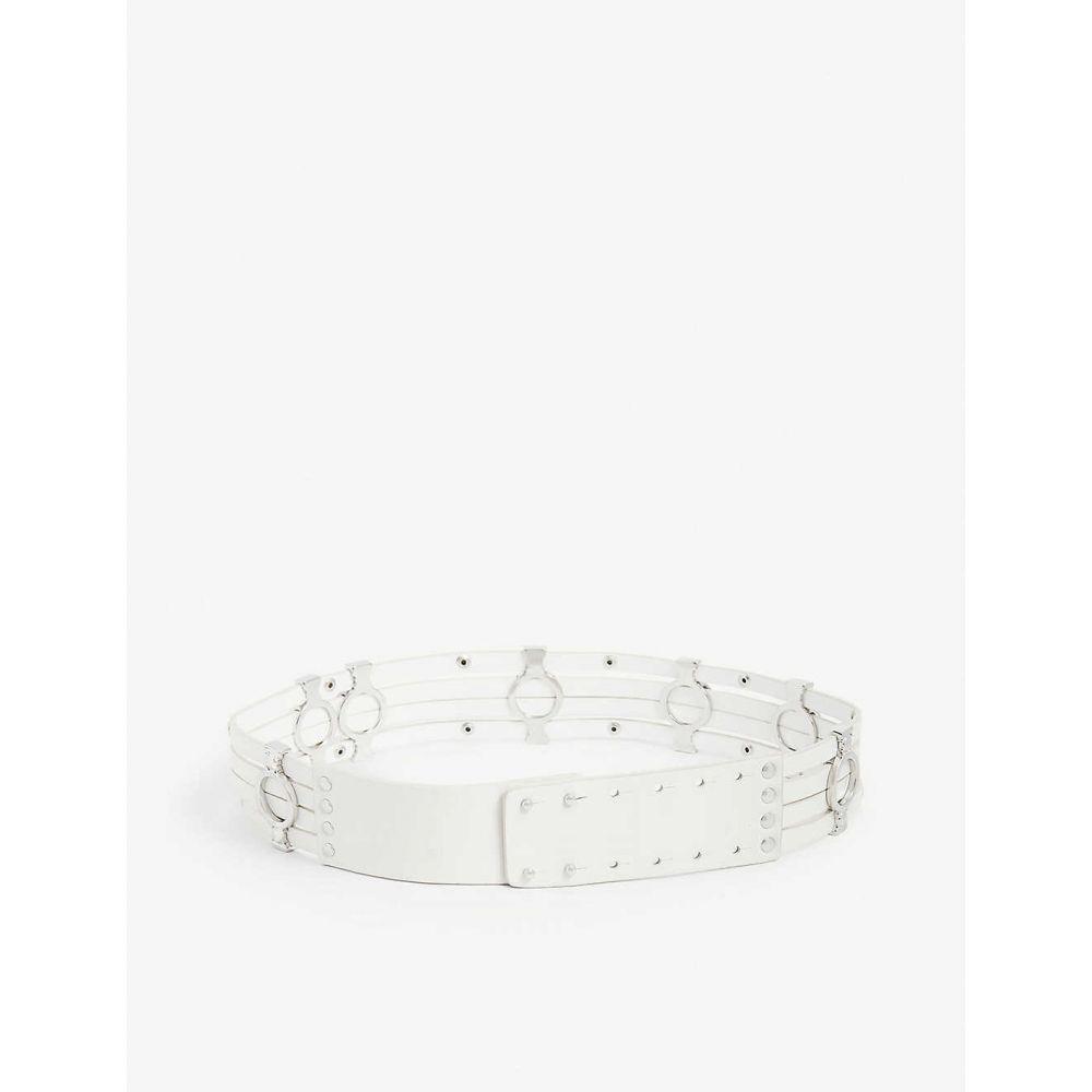 マージュ MAJE レディース ベルト 【Azur silver-tone stud embellished leather belt】OFF WHITE