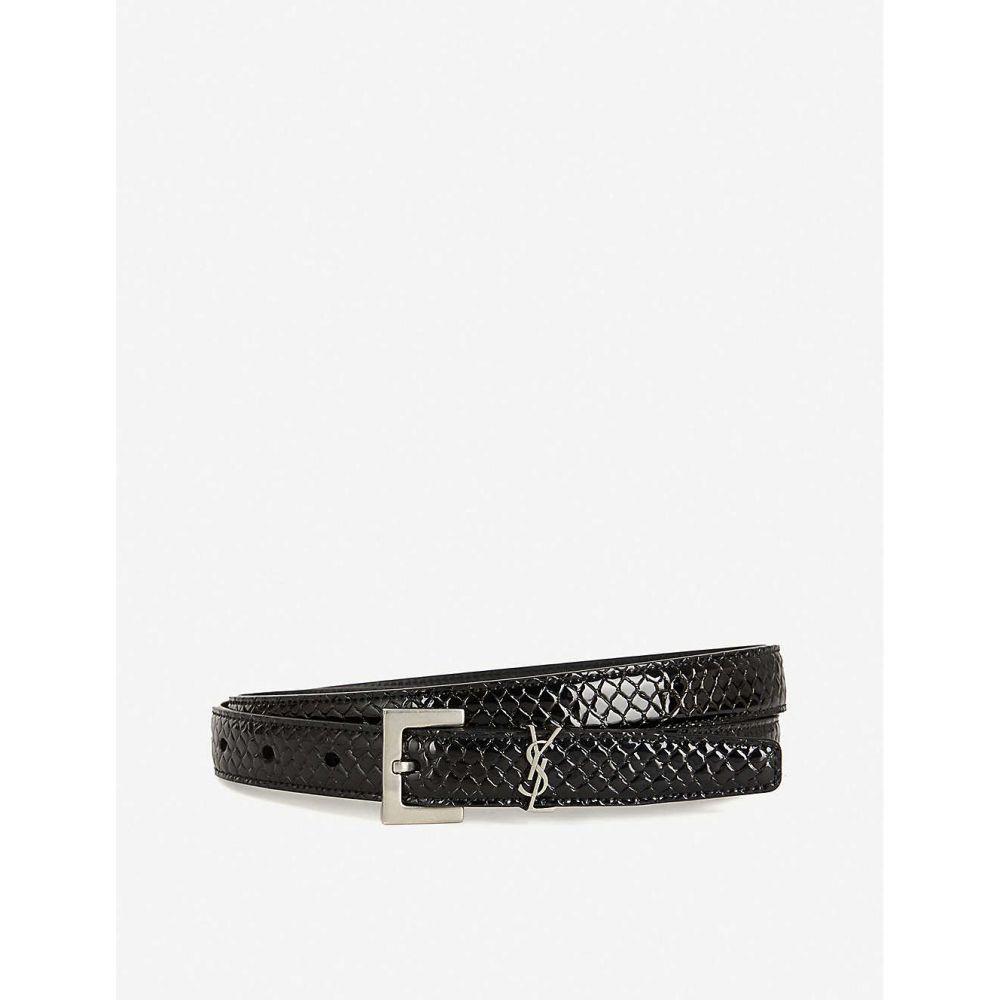 イヴ サンローラン SAINT LAURENT レディース ベルト 【Moniker croc-embossed leather belt】BLACK SILVER